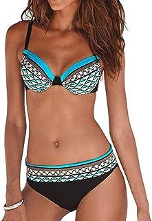 Dainzuy Bikini Traje de baño para Mujer Sexy de Cintura Alta impresión Traje de baño de Dos Piezas Traje de baño Suave con Almohadilla