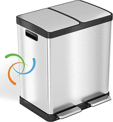 Amazon Com Itouchless Softstep 16 Gallon Kitchen Step Trash Can Recycle Bin With Double Odor Filters And Removable Color Coded Buckes Stainless Steel 2 X 8 Gallon 30l Soft Close Lid And Airtight