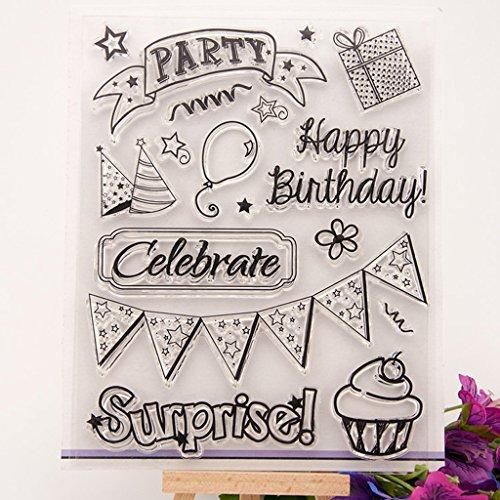 Hoja de sellos de silicona transparente Scrapbooking Estampado en relieve Transparente Sello adhesivo para DIY Álbum de fotos Papel Tarjeta de cuaderno Fabricación Feliz cumpleaños y pastel 2#