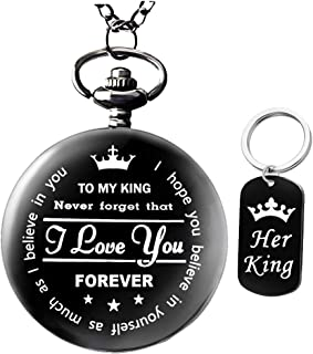 To My-King-Pocket-Watch-Gifts for boyfriend Best Gifts for Him Gifts from Girlfriend,Valentine's Day Gifts for Men,Engraved Pocket Watch with Gift Box for Men