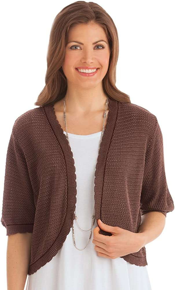 Collections Open-Front Stitched Short Sleeve Shrug, Lightweight Layer Piece with Scalloped Trim