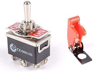 Monland 10pzs SPDT Negro Rojo Boton Encendido//Encendido Interruptor basculante Redondo AC 6A//125V 3A//250V