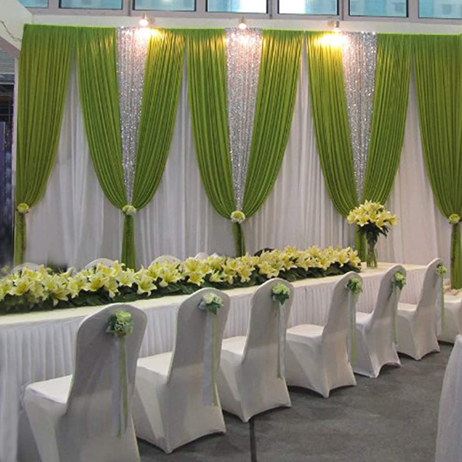 LB Wedding Stage Backdrop Event Ceremony Party Drapes Background 20x10ft Birthday Baby Shower Drapes with Swags Silk Fabric Curtain Green Silvery Sequins Decorations Backdrop