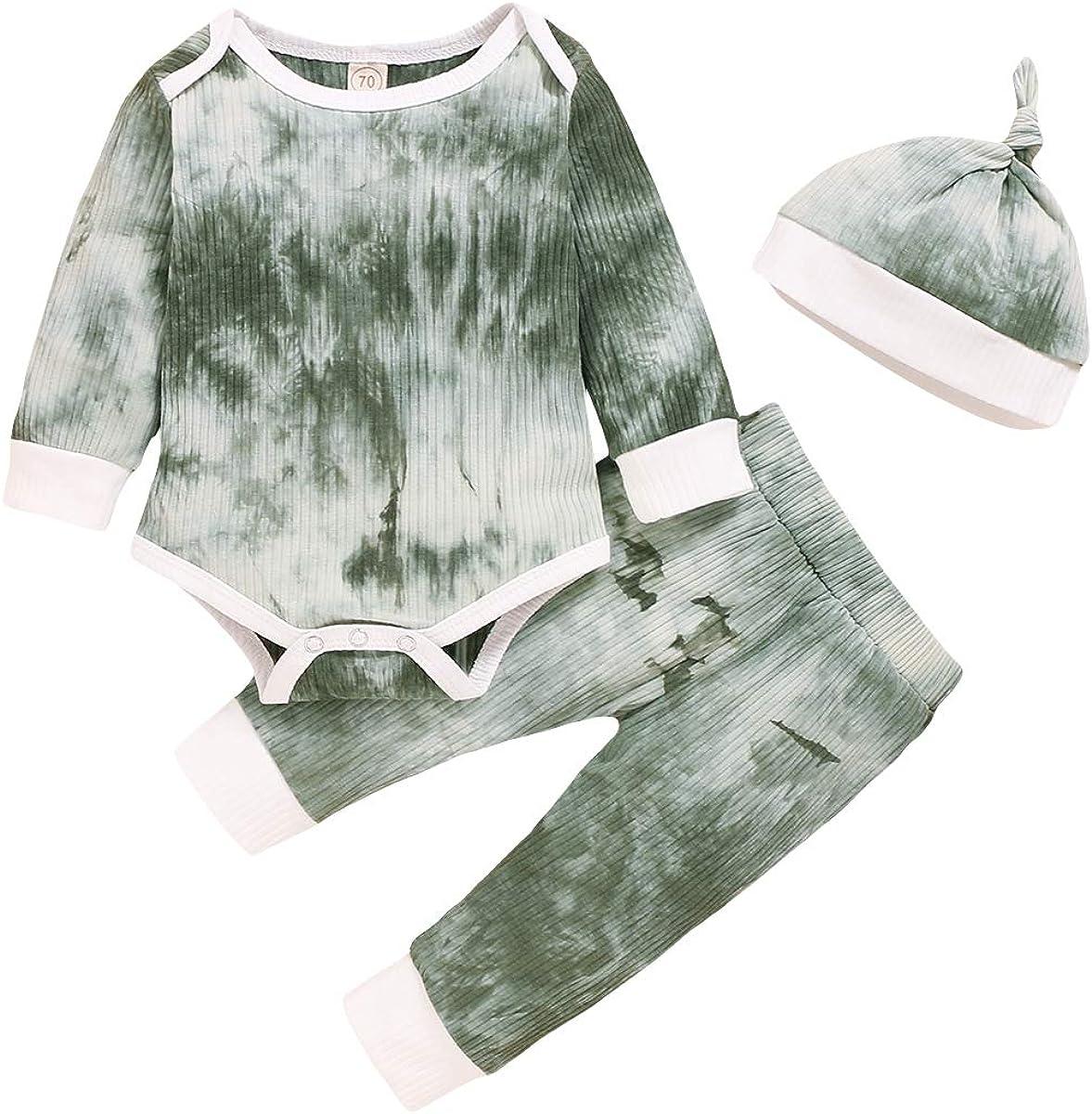 Newborn Toddler Baby Boy 3Pcs Tie Dye Fall Winter Outfit Long Sleeve Romper Bodysuit Top Pants Hat Clothes Set