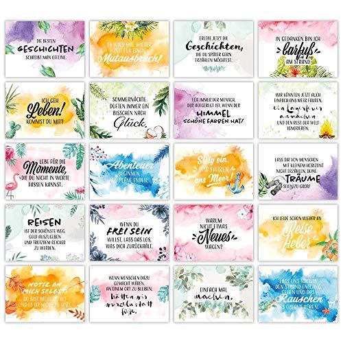 HEJ.CREATION Set mit 20 bunten Postkarten ● Postkartenset mit schönen Sprüchen und Zitaten zum Thema Leben, Liebe, Reisen und Motivation ● Geschenk, Geschenkidee, Lebensweisheiten, Deko, Dekoration
