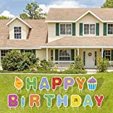 HOLIFLY Happy Birthday Yard Signs with Stakes,15 Pack Outdoor Lawn Decorations with Colorful Letter Set Balloon Cupcake,Weatherproof Birthday Party Decorations