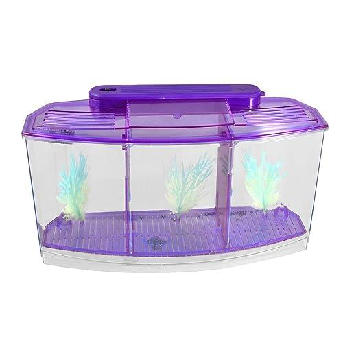 SODIAL(R) Clear Purple Plastic Battery Powered LED Lamp Mini Desktop Fish Aquarium