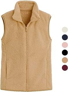 Women's Fleece Vest Solid Color Sleeveless Zipper Imitation Lamb Hair Plus Velvet Jacket Autumn and Winter Outerwear (Color : Yellow, Size : S)