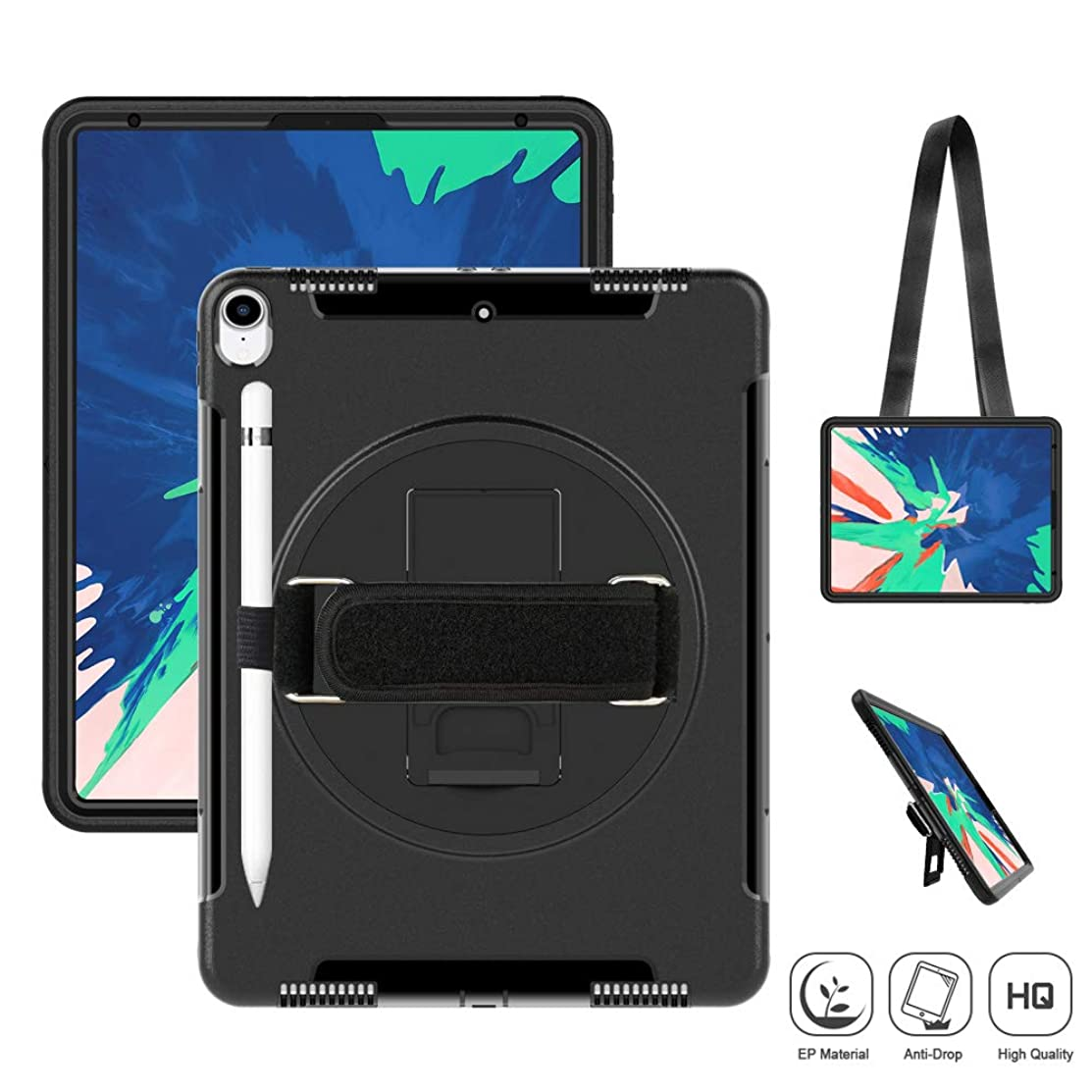 SUPFIVES iPad Pro 12.9 (3rd Generation) 2018 Case, Heavy Duty Case with Stand+Hand Strap+Shoulder Strap+Pencil Holder Shockproof Durable Case for Newest iPad pro 12.9 inch 2018 Released (Black)