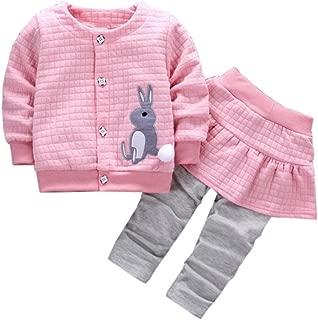 Fabal 2Pcs Infant Toddler Baby Girls Rabbit Print Tops Coat+Pants Outfits Clothes Set