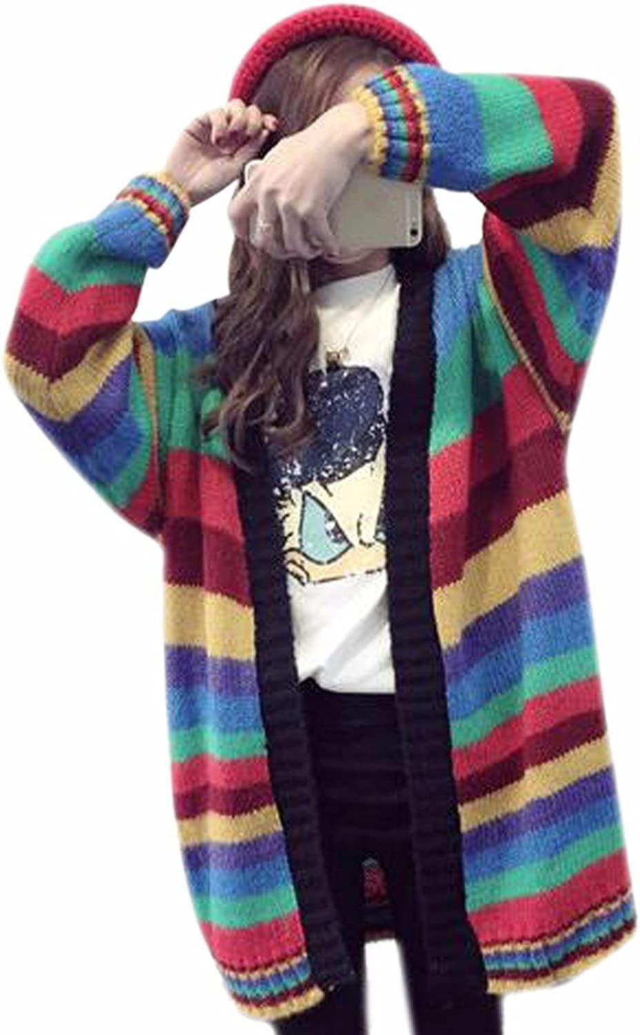 QIYUN.Z Woman Girls Rainbow Mixed color Baggy Cardigans Sweater Coat