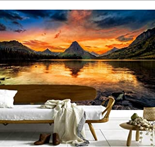 xbwy Custom 3D Murals,Mountains Lake Sunrises and Sunsets Nature Wallpapers,Living Room Sofa Tv Wall Children Bedroom -150X120Cm