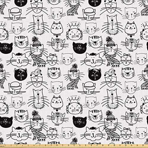 ABAKUHAUS Mascota Tela por Metro, Gatos cómico inconformista Doodle, Tela Elastizada Estampada para Costura Arte y Bricolaje, 1 Metro, En blanco y negro