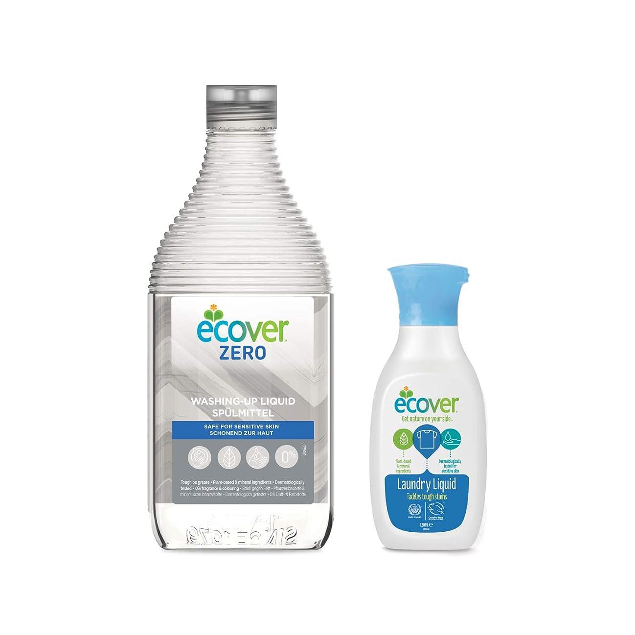 理容師教育する毎年エコベール 食器用洗剤 ゼロ 450mL 洗濯用洗剤ミニボトル付き