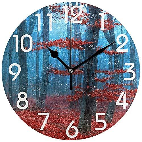 Cy-ril Élégant Arbres de forêt brumeuse Imprimer Horloge Murale Ronde fonctionnant sur Batterie Horloge de Bureau silencieuse pour la Maison, Le Bureau, l'école