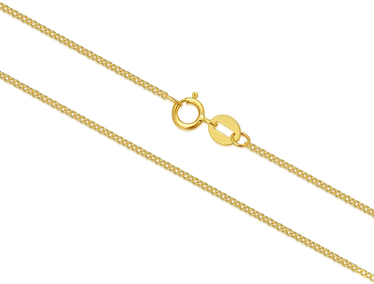 10k 14k 18k Real Gold Chain for Women, Classic Thin Cable Chain Necklace-1mm, 1.2mm, 1.35mm, 1.6mm, Durable Strong Solid 14k Gold Chain Necklace Women