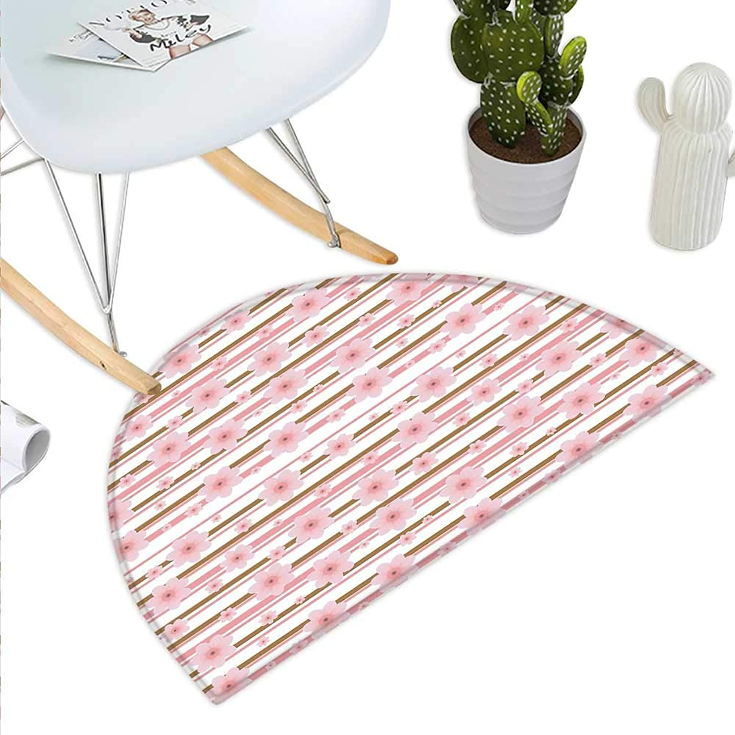Peach Semicircle Doormat Cherry Buds in Many Shapes Sizes with Horizontal Lines Blooming Nature Theme Halfmoon doormats H 39.3  xD 59  Pale Pink Caramel