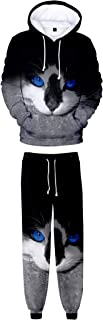 HoneyStore Unisex Cat Print Hoodies Pants Sets 3D Tracksuit Sweatshirt Sweatpant