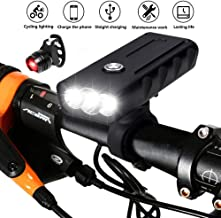 BESTSUN USB Rechargeable Bicycle Light, Super Bright 3 LED 6000 Lumen Bike Front and Tail Light Set, Waterproof 3 Light Modes Bike Headlight Night Safety Lights for Mountain Road Cycling