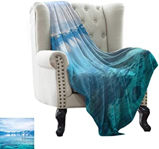 BelleAckerman Flannel Throw Blanket Lake,Paddle Boarding Lake Tahoe with Snowy Mountains in Distance Hobby Activity,Blue Turquoise White Velvet Plush Throw Blanket 60