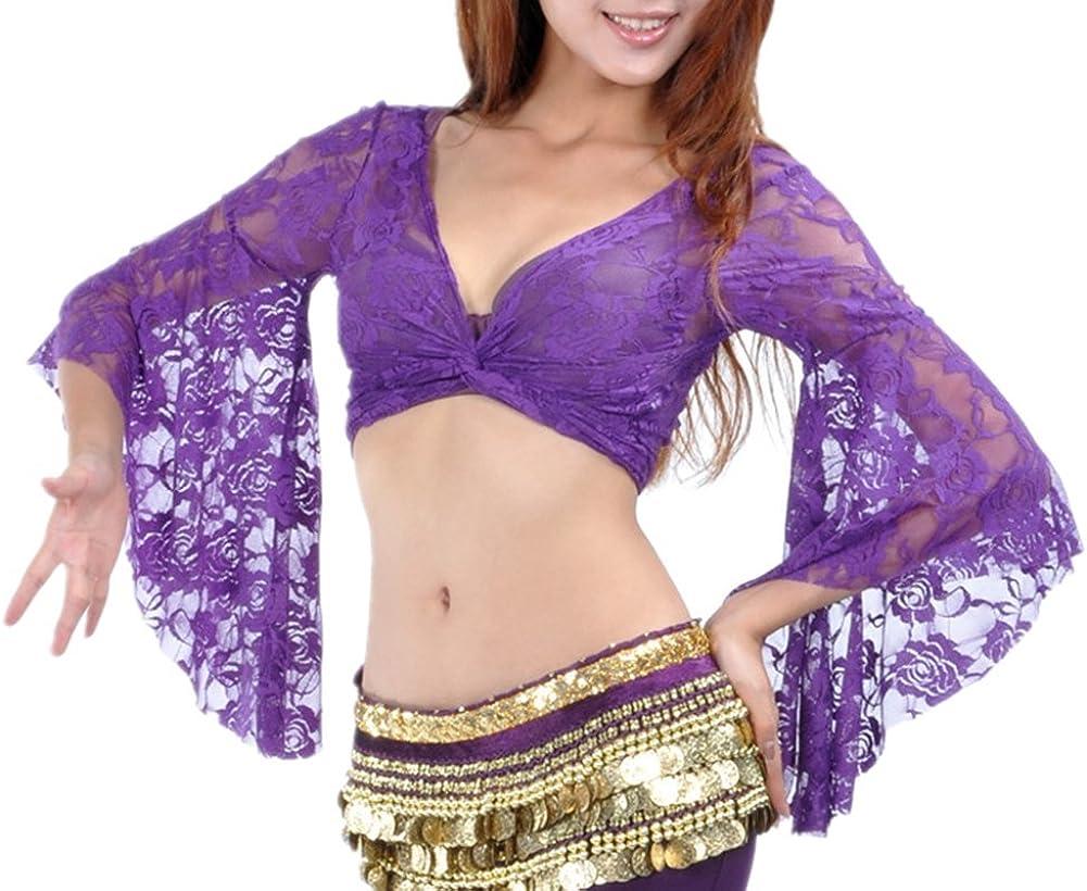 DQdq Women's Belly Dance Sleeve Nashville-Davidson Mall Lace Top Butterfly Luxury