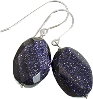 Goldstone Earrings Blue Sparkly Oval Faceted Simple Dangle Drops