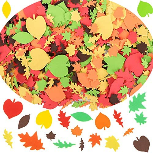 Thanksgiving Foam Maple Fall Leaves Craft Stickers Assorted Self Adhesive Autumn Fall Leaf Shapes product image