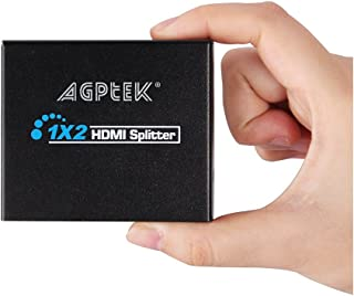 1X2 Mini HDMI Splitter 1080P 3D Support, AGPtEK 1-in-2-out Digital HDMI V1.3 Splitter Distributor Compatible with HDTV, Home Theater LED Blu Ray PS4 STB