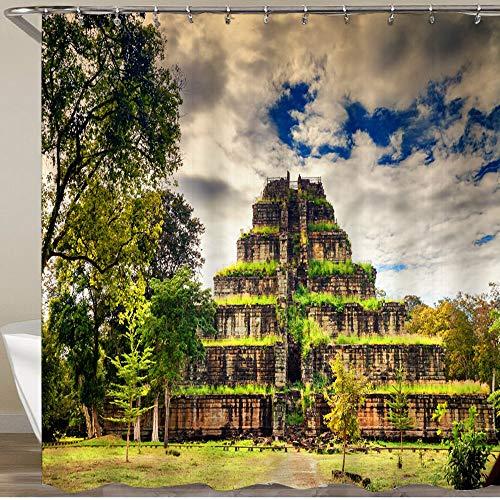 LISNIANY Duschvorhang 180x180cm Wasserabweisend Shower Curtain,Antike Pyramide Ko Ker Maya Stil gelegen tropischen Dschungel Kambodscha,mit 12 Duschvorhangringen