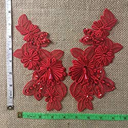 Red Beaded Applique Pair Embroidered Organza Layered Hand Beaded