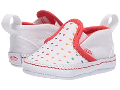Vans Kids Slip-On V Crib (Infant/Toddler) (Rainbow Heart/True White) Girls Shoes