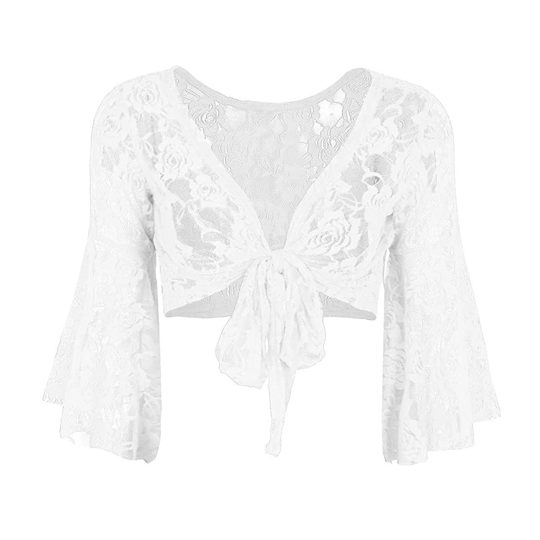 FEESHOW Women's Bell 3/4 Length Butterfly Sleeves Front Tie Lace Bolero Cropped Shrug Top
