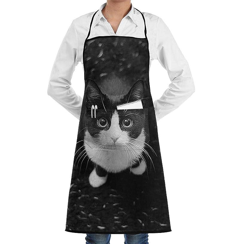 墓地十年曲線Black Cat エプロン カフェエプロン ビブエプロン キッチンエプロン 花柄?胸当て 前掛け 腰巻 H型 ロング キッチン カフェ 飲食店 保育士 男女兼用 シンプル かわいい おしゃれ 人気 北欧
