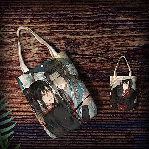 KaiWenLi MO DAO ZU SHI Serie/WEI Wuxian Und LANWANGJI Muster 2 / Anime-Handtasche/Cartoon Leinentasche / -Einkaufstasche/Schulter-Beutel for Erwachsene und Kinder/Anime-Fans