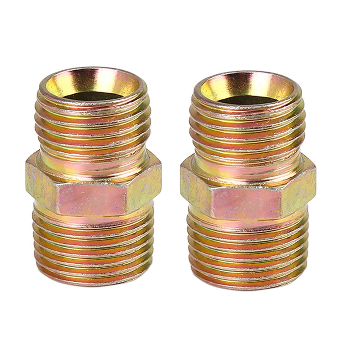 X AUTOHAUX 2pcs 1//4 NPT to M16 x 1.5mm Male Straight Air Hose Fitting Connector Adapter