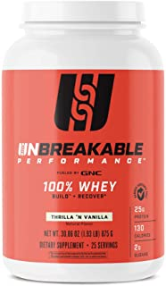 GNC Unbreakable Performance 100% Whey | Build + Recover, Banned Substance Free | Thrilla 'N Vanilla | 25 Servings