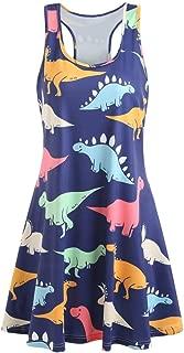 Women's Cute Dino Print Dress, E-Scenery Casual Sleeveless Dinosaur Printed Tunic Tank Dresses
