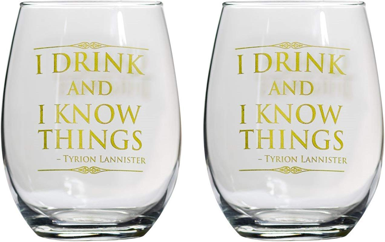 Game Of Thrones Collectible Wine Glass Set I Drink I Know Things