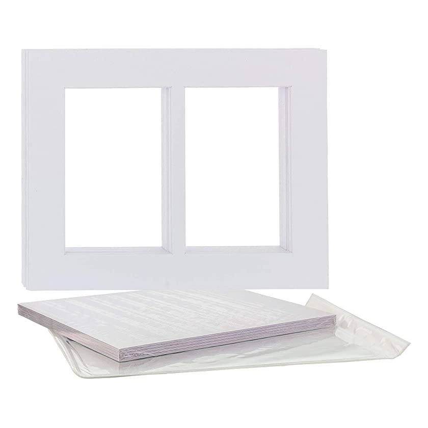 U.S. Art Supply 11X14 White Multi-Window Photo Mat Board Set - Mats, Backboard & Clear Bags - 10 Sets