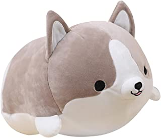 Levenkeness Corgi Dog Plush Pillow, Soft Cute Shiba Inu Akita Stuffed Animals Toy Gifts (Gray, 11.8 in)