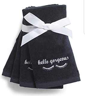 Cynthia Rowley Black Makeup Towel Remover Hello Gorgeous Eyelashes Soft Absorbent Cotton Cleansing Washcloth Towels