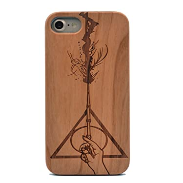 CYD Wooden Case for iPhone 7/8, Natural Real Wood Engraved Hallows Magic Wand Shockproof Drop Proof Slim Bumper TPU Protective Cover for iPhone 7,iPhone 8,iPhone SE 2th