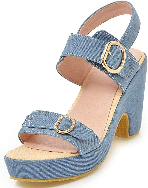Gedigits Women's Stylish Buckle Strap Open Toe Block High Heels Platform Sandals Light bluee 7 M US