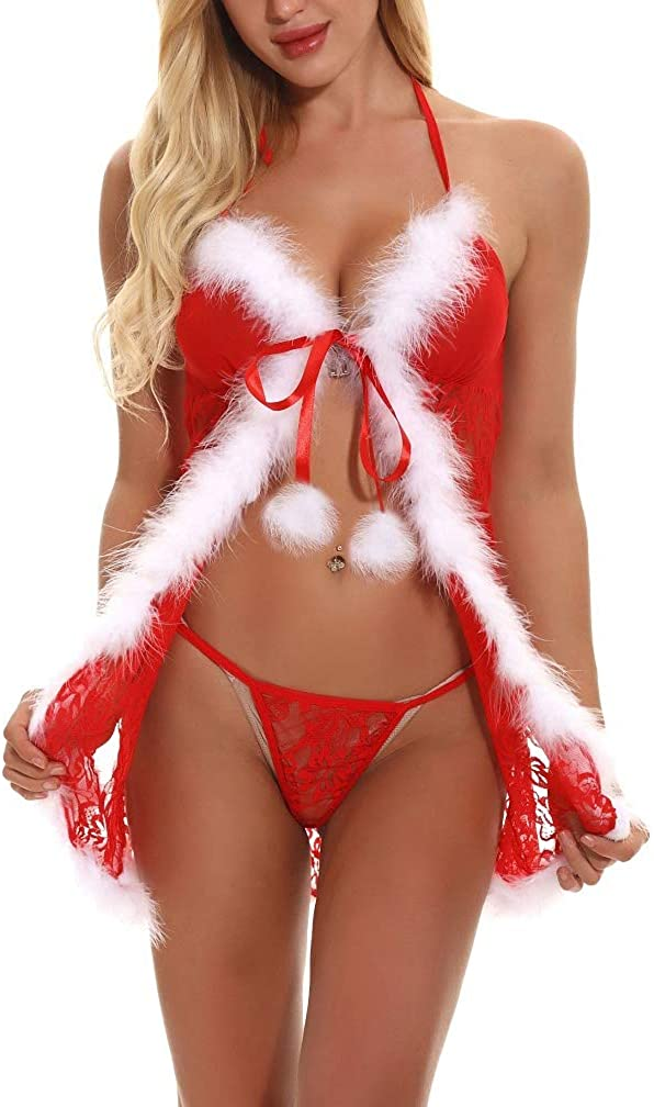 LeaLac Women's Christmas Lingerie Set Red Sexy Santa Babydoll Lace Chemises Outfit Bodysuits