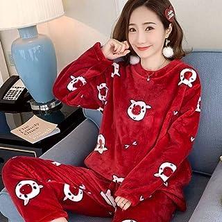 Conjunto Pijama Mujer,Señoras Invierno Cálido Suave Elegante Ropa De Dormir Rojo Encantador Cerdo Grueso Cuello Redondo Tops Pantalones Franela Cómoda Ropa De Dormir Informal Térmica Homewear