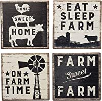 Primitives by Kathy Rustic Style Absorbent Stone Coasters, Set of 4, Farm-Sweet-Farm [並行輸入品]