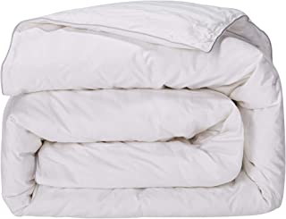 puredown All Season Down Comforter Stripe White 100% Cotton Shell 500 Thread Count 800 Fill Power, Twin/Twin XL-Large