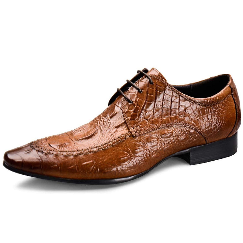 [ONE MAX] ビジネスシューズ メンズ 本革 クロコダイル柄 ウォーキング 外羽根 革靴 ビジネス カジュアル レースアップ シューズ ロングノーズ 高級靴