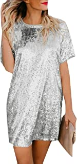 Womens Summer Plus Size Glitter Sequins Short Sleeve Clubwear Mini T-Shirt Dress