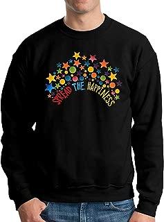 Spread Happiness Men's Crew Neck Sweatshirt Big and Tall Pullover Black